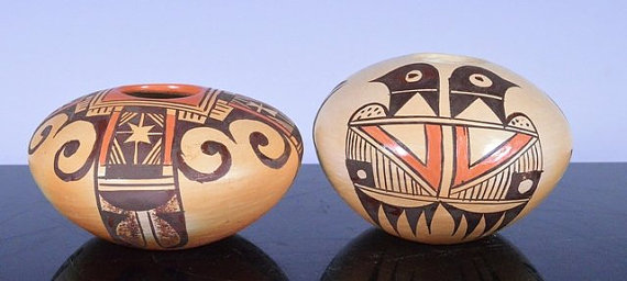 Native American Hopi Pueblo Pottery Seed Jars (2) by Adell Nampeyo, #786