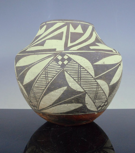 Native American, Acoma, Acomita Design Polychrome, Pottery Water Jar/Olla, #790