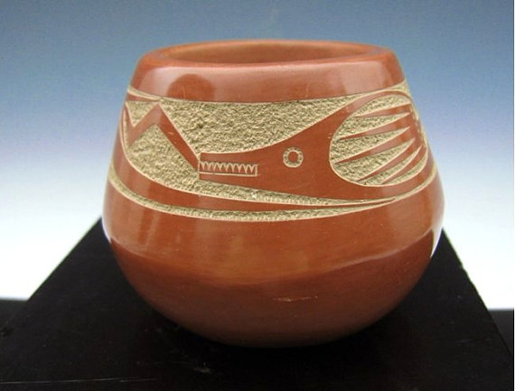 Native American, San Ildefonso Pueblo Pottery sgraffito Avanyu Jar by Tony Da, Ca 1970