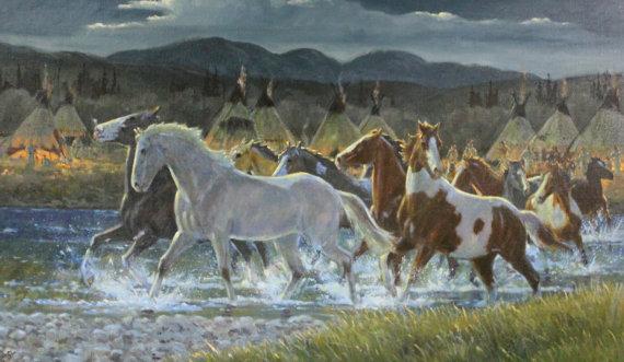 Wild Horses : Original Ron Stewart Oil,
