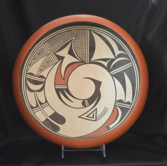 Native American, Large Hopi Poly Chrome Pottery Bowl, by Marcia Rickey, The Ant Women, #780