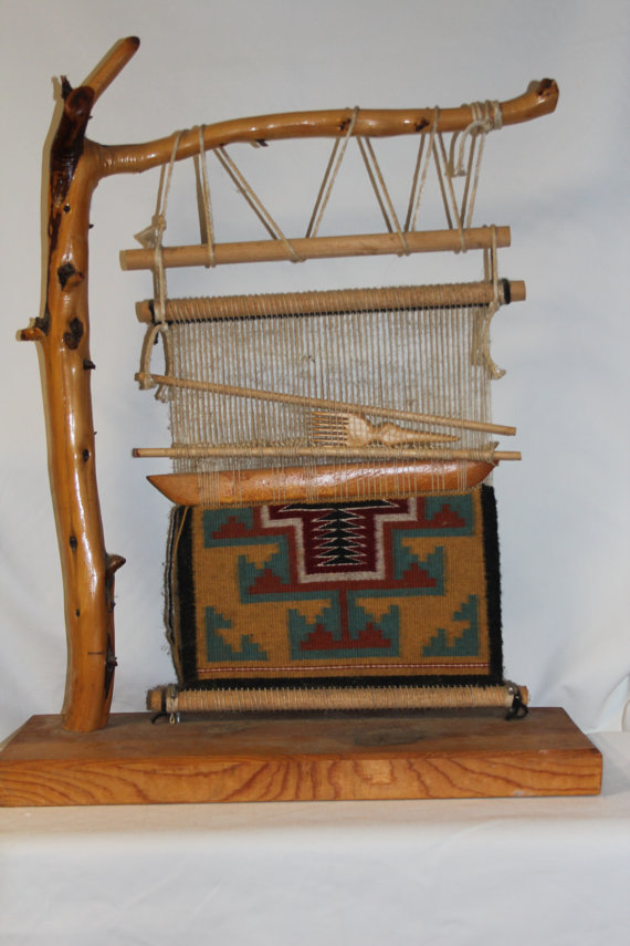 Native American : Native American Navajo Rug and Loom Example #54