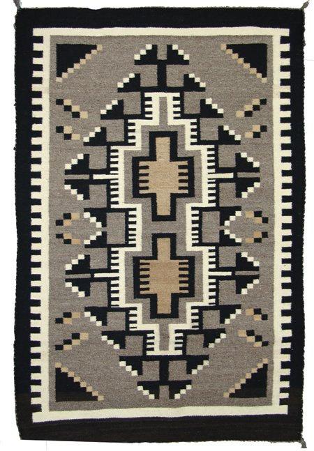 Native American Vintage Navajo Two Grey Hills Rug/Weaving, ca. 1970's