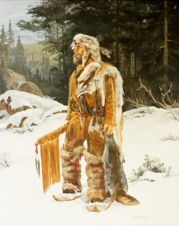 Western Artist, Karin Hollebeke, Oil Painting, * The Trapper*, Ca 1970. #906
