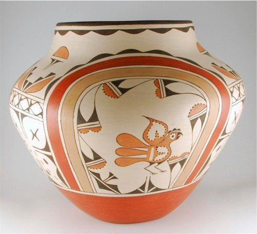 Native American Massive Traditional Zia Pottery Storage Jar by Ruby Panana, #793