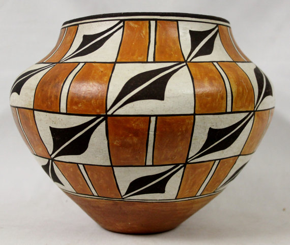 Historic Acoma Polychrome Pottery Olla, by Lolita Concho, #767