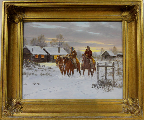 Western Artist, Ron Stewart Oil Painting on Board, Entitled