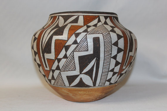 Vintage Pottery : Vintage Native American Acoma Polychrome Pottery Jar #53