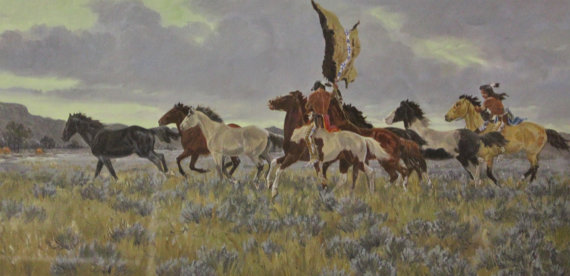 Native Art : Ron Stewart, *Surprise Raid* Water Color, Western Artist, Ron Stewart Opaque Water Color Painting, Artist's Remarque, #413