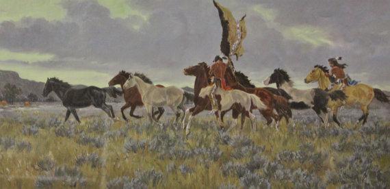 Native Art : Ron Stewart, *Surprise Raid* Water Color, Western Artist, Ron Stewart Opaque Water Color Painting, Artist's Remarque, #413