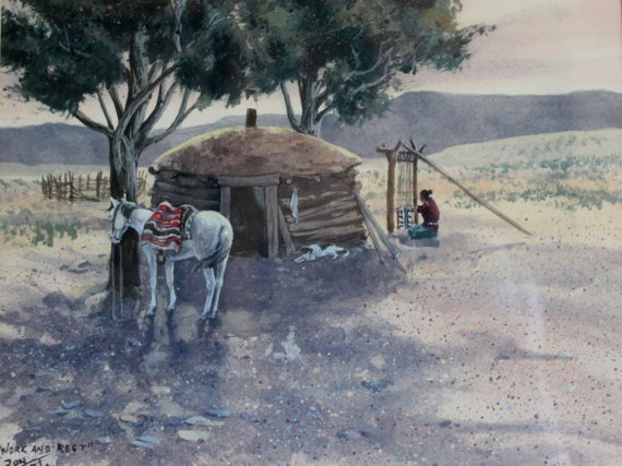 Original Watercolor : Ron Stewart (1941-), Ron Stewart Western Water Color Painting, Signed,