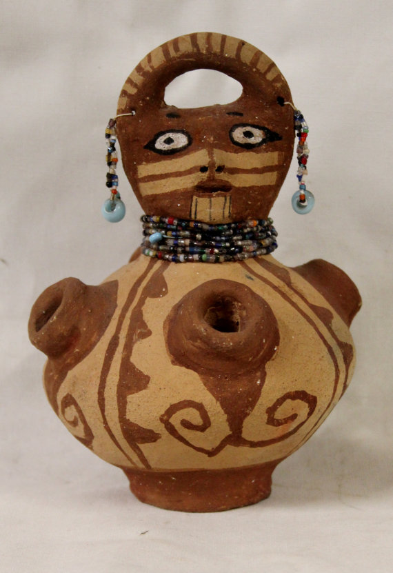 Native American Mohave Hand-Painted Pottery Effigy With Beaded Earrings and Necklaces, #931