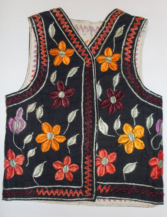 Vintage Clothing : Beautiful Vintage Hand Embrodered Women's Reversible Vest from Jerusalem #407