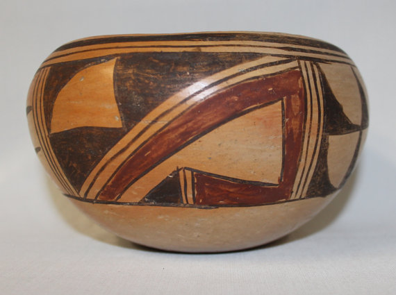 Pueblo Pottery : Traditional Designed Hopi Polychrome Bowl #51