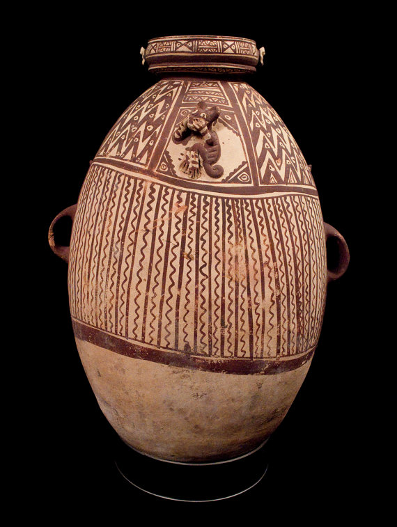 Pottery Vessel : Exquisite Large Chancay Pottery Vessel from Peru A.D. 1102-1532 #399