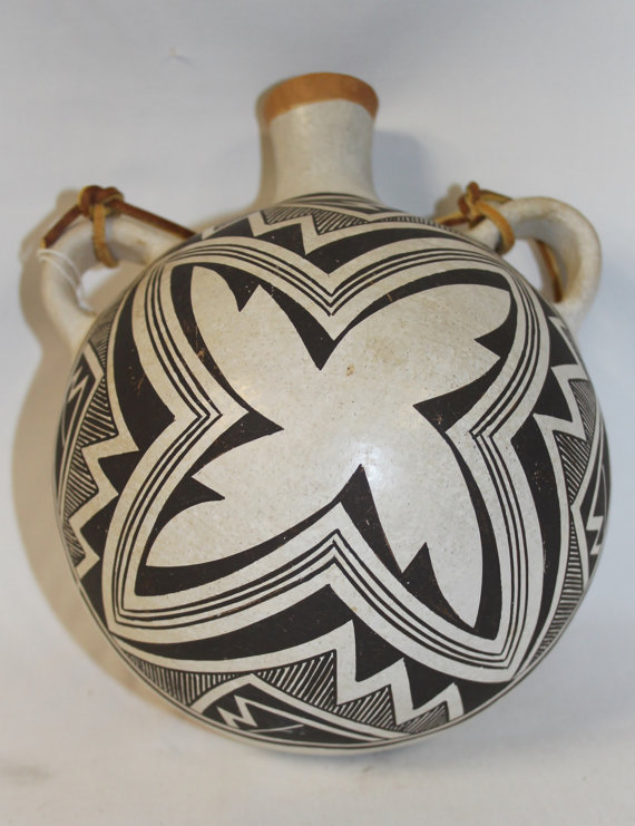 Hopi Pottery : Native American Hopi Fine Mimbres Style Motif Canteen by Lucy Lewis 388 a.