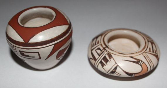 Small Pottery : Two Minature Fine Polychrome Hopi Pottery Pots by Grace Navasie #66