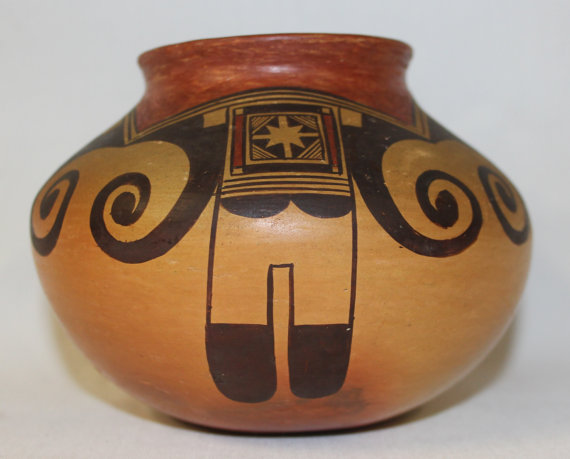 Hopi Pottery : Native American Hopi Polychrome Jar by Fannie Polacca Nampeyo 388 b.