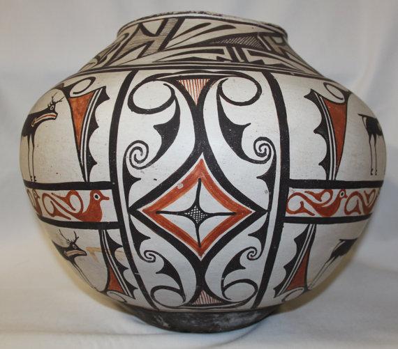 Zuni Pottery : Outstanding Very Large Historic Zuni Pottery Storage Pot ca 1890 #405