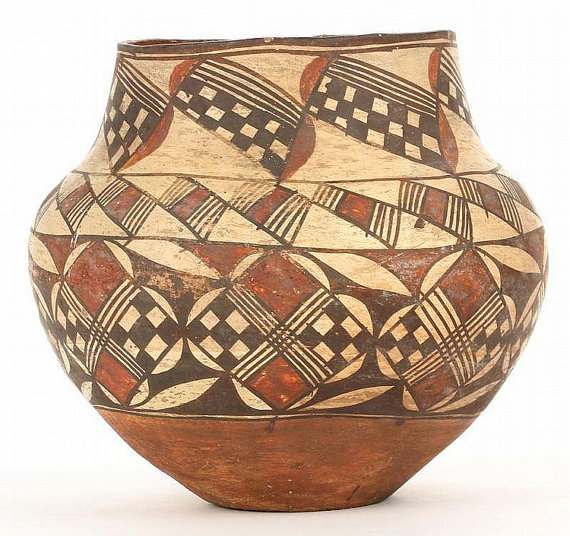 Antique : Antique Acoma Polychrome Olla #210