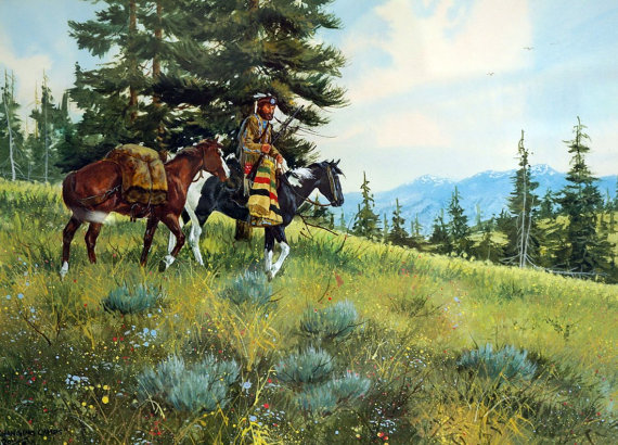 Western Artist, Ron Stewart, Water Color titled *Changing Camps*, #895