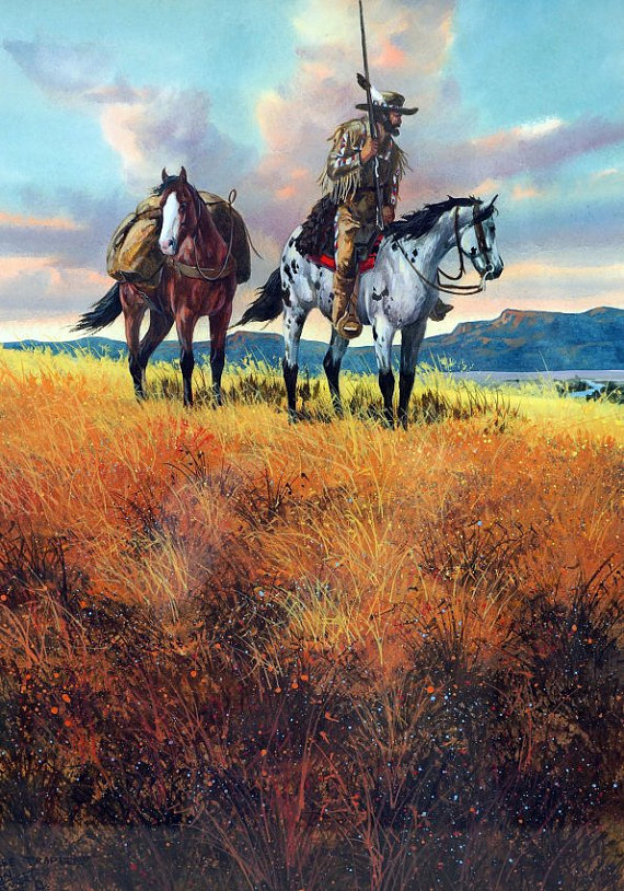 Western Artist, Ron Stewart, Water Color Painting Titled, *Free Trapper*, #894