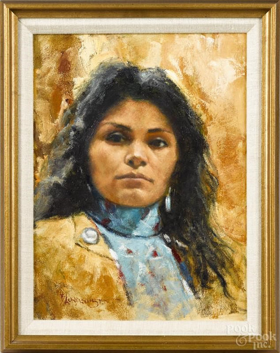 Western Art, Bill Lundquist, Oil on Canvas Portrait of a Native American Woman, Miha Cante, Signed Lundquist, #896