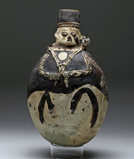Pre-Columbian, Peruvian Chancay Pottery Olla Man Carrying A Lama, #887