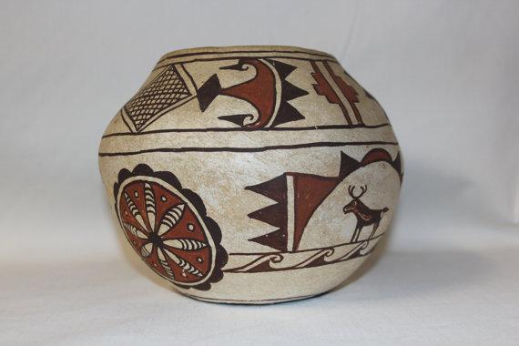 Pottery : Antique Zuni Pottery Vase by Nellie Bica #4