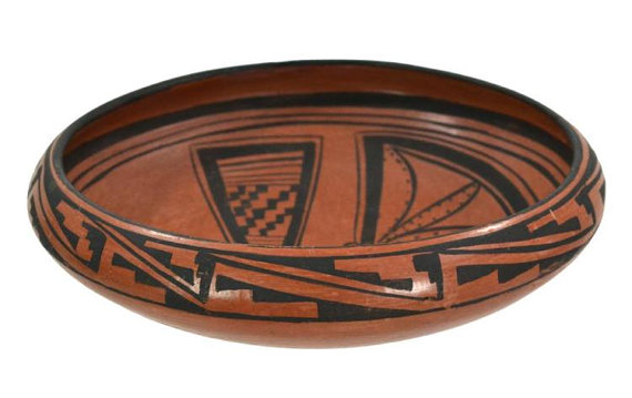 Native American, Hopi Pottery Bowl with Butterfly, by Edith Nash, Ca 1960's, #879