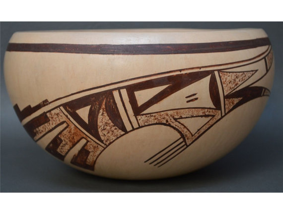 Hopi bowl, Native American bowl, Pueblo Pottery, Southwest Clay bowl, Polychrome bowl, Native American Hopi Pot, Polychrome bowl #663