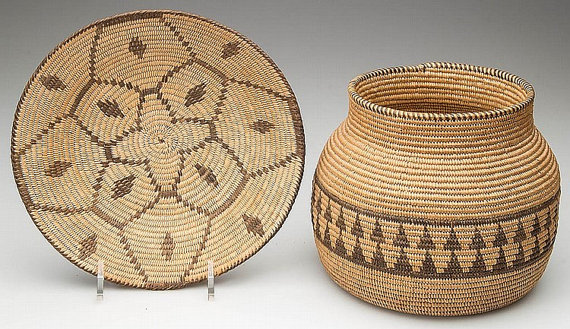Coil Baskets : Native American Coil Baskets, Set of Two #28