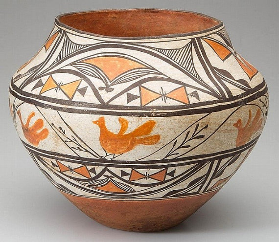Acoma Pottery : Native American Acoma or Laguna Pottery Olla #32