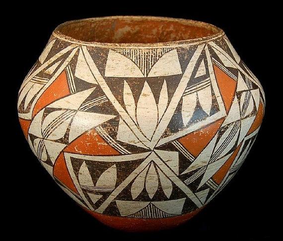 Vintage Pottery : Vintage Acoma Polychrome Pottery Vessel #18