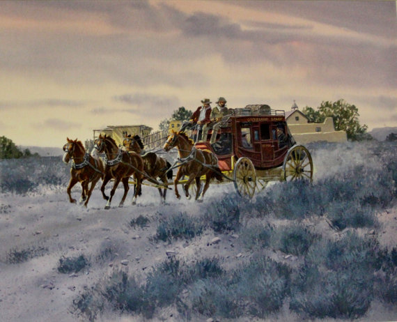 Western Art : Ron Stewart Water Color,