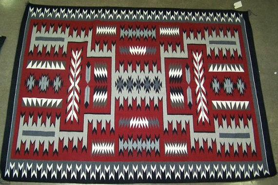 Navajo Rug/Weaving: Extraordinary, Very Large Storm Pattern, Navajo Rug/Weaving, by Gabriel Benally #763