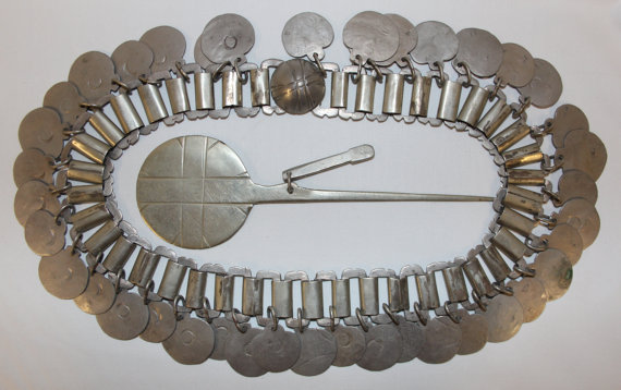 Ceremonial : Excellent Rare Mapuche Silver Head Ornament (Trarilongko) With Silver Clothes Pin (Tupu) from Chile #380