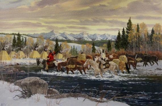 Winter Art : Ron Stewart Western Artist, Ron Stewart Art, Signed, Detailed Remarque,