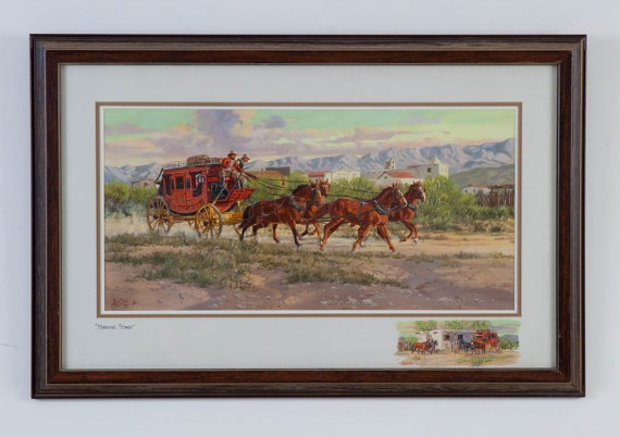Western Artist, Ron Stewart, *Morning Stage* Water Color Painting, #760