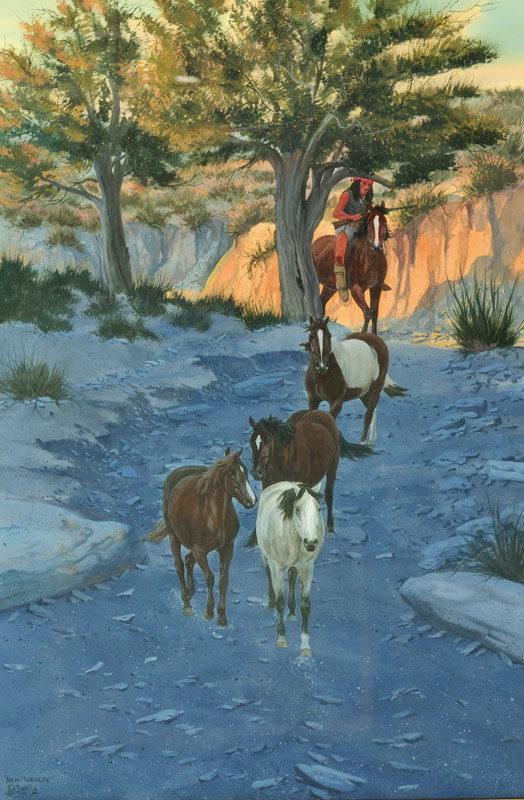 Western Artists : Ron Stewart, Opaque Water Color Painting,