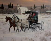 Original Watercolor : Ron Stewart Western Artist, Leaning Tree Christmas Card,