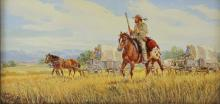 Western Painting : Ron Stewart, Oil Painting, Signed, *Westward*, Vintage, 1989, Artist*s Symbol, Mountain Guide with Wagon Train,