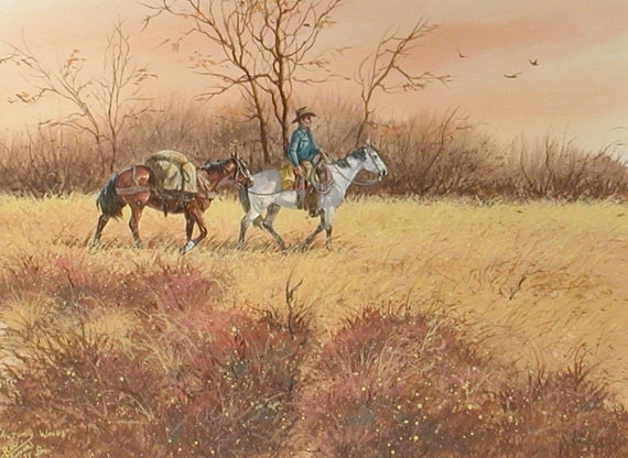 Watercolor Painting : Ron Stewart, Water Color, Signed, *Autumn Winds*, Vintage, 1973, Watercolor on Paper, Artist*s Symbol #538