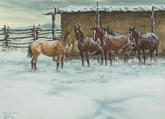 Western Artist, Ron Stewart, Opaque Water Color, Signed, Familiar Voices, Vintage, 1978, Watercolor #592