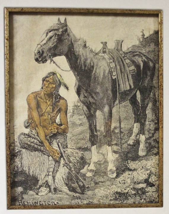 Lithograph : Fredric Remington Lithograph, American Heritage Gallery, St Petersburg Collection, Hand Colored Lithograph, Remington, 669