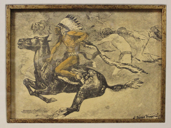 Antique Lithograph : Fredric Remington Lithograph, American Heritage Gallery, Saint Petersburg Collection, Colored Lithograph,#668