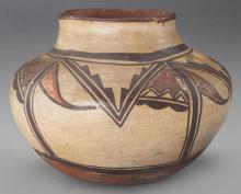 American Indian Pottery : Native American Hopi (Polacca) Polychrome Jar, Ca 1870 #520