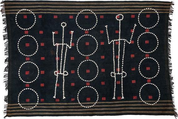 Warrior : Authentic Chang Naga Warrior (Northeastern India) Ceremonial Textile Woven Body Cloth w Cowrie Shell Circles & Human Figures #525