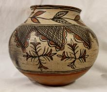 Native American, San Ildefonso Polychrome Pottery Olla, Ca late 19th Century #981