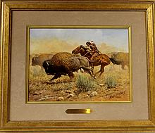 """Western Artist, Russ Vickers (American, 1923-2007), """"Buffalo Hunter"""" Oil on board, 1983, #985"""